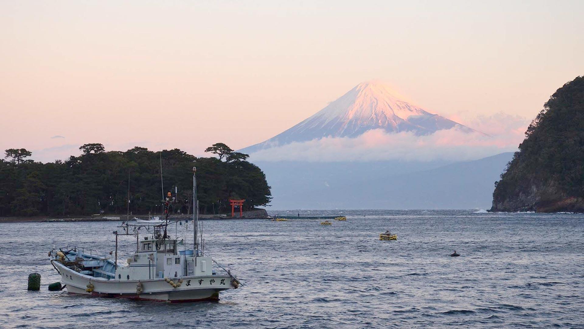 沼津から見た富士山の画像